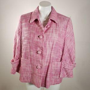 J. Crew Pink Tweed Speckled Waverly Jacket
